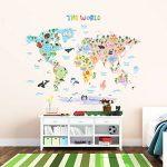 Decowall DLT-1615 Carte du monde Animaux Autocollants Muraux Mural Stickers Chambre Enfants Bébé Garderie Salon (Extra Grand) (Ver anglais) de la marque Decowall image 2 produit