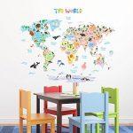 Decowall DLT-1615 Carte du monde Animaux Autocollants Muraux Mural Stickers Chambre Enfants Bébé Garderie Salon (Extra Grand) (Ver anglais) de la marque Decowall image 3 produit
