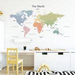 Decowall DLT-1809 Carte du monde Moderne Tons Pastel Autocollants Muraux Mural Stickers Chambre Enfants Bébé Garderie Salon (Extra Grand) (Ver anglais) de la marque DECOWALL image 1 produit