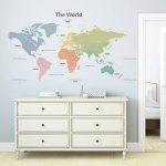 Decowall DLT-1809 Carte du monde Moderne Tons Pastel Autocollants Muraux Mural Stickers Chambre Enfants Bébé Garderie Salon (Extra Grand) (Ver anglais) de la marque DECOWALL image 3 produit