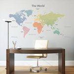 Decowall DLT-1809 Carte du monde Moderne Tons Pastel Autocollants Muraux Mural Stickers Chambre Enfants Bébé Garderie Salon (Extra Grand) (Ver anglais) de la marque DECOWALL image 4 produit