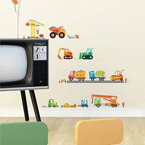 Decowall DS-8012 Site de Construction Voitures Autocollants Muraux Mural Stickers Chambre Enfants Bébé Garderie Salon (Petit) de la marque DECOWALL image 0 produit