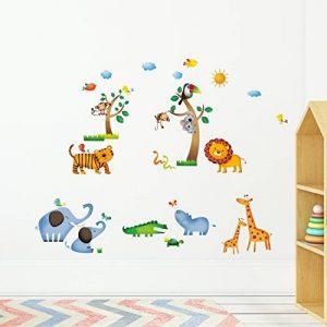 Decowall DW-1206 Animaux Sauvages de la Jungle Autocollants Muraux Mural Stickers Chambre Enfants Bébé Garderie Salon de la marque Decowall image 0 produit