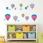Decowall DW-1301AC-2 12 Montgolfières dans le Ciel Autocollants Muraux Mural Stickers Chambre Enfants Bébé Garderie Salon de la marque Decowall image 1 produit