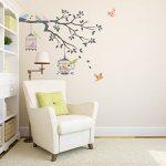 Decowall DW-1510 Oiseaux sur Branche d'arbre avec Cages à Oiseaux Autocollants Muraux Mural Stickers Chambre Enfants Bébé Garderie Salon (Gris) de la marque Decowall image 2 produit