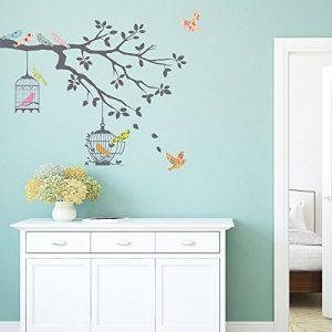Decowall DW-1510 Oiseaux sur Branche d'arbre avec Cages à Oiseaux Autocollants Muraux Mural Stickers Chambre Enfants Bébé Garderie Salon (Gris) de la marque Decowall image 0 produit