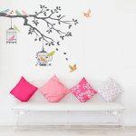Decowall DW-1510 Oiseaux sur Branche d'arbre avec Cages à Oiseaux Autocollants Muraux Mural Stickers Chambre Enfants Bébé Garderie Salon (Gris) de la marque Decowall image 3 produit