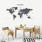 Decowall DWT-1609GS Carte du monde Moderne Grise Autocollants Muraux Mural Stickers Chambre Enfants Bébé Garderie Salon (Moyen)(Ver anglais) de la marque Decowall image 1 produit
