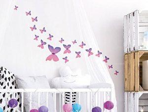 dekodino Sticker Mural A Papillons Aquarelle pour Filles dans Rose pièces Coller de la marque dekodino image 0 produit