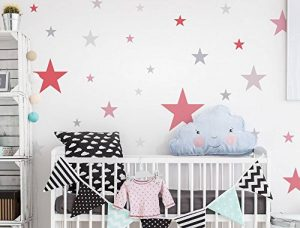 dekodino Sticker Mural étoiles Kit Fille Couleurs en Pastel Ciel étoilé Coller de la marque dekodino image 0 produit