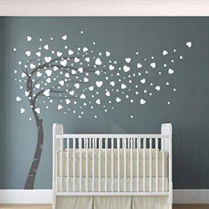 Design Divil Autocollant mural en vinyle de qualité Motif arbre avec cœurs qui s'envolent de la marque Designdivil-Wall-Decals image 0 produit