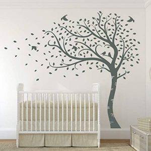 Designdivil Autocollant mural grande taille à motif d'arbre avec feuilles d'automne et oiseaux Autocollant mural en vinyle mat de qualité. de la marque Designdivil-Wall-Art image 0 produit