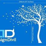 Designdivil Autocollant mural grande taille à motif d'arbre avec feuilles d'automne et oiseaux Autocollant mural en vinyle mat de qualité. de la marque Designdivil-Wall-Art image 1 produit