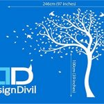 Designdivil Autocollant mural grande taille à motif d'arbre avec feuilles d'automne et oiseaux Autocollant mural en vinyle mat de qualité. de la marque Designdivil-Wall-Art image 2 produit