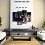 Deux Loup Supporter Sur rivière Banque Forêt Peinture murale d'art L'image imprimée sur toile Animal Photos d'œuvres d'art pour le bureau à domicile Décoration moderne de la marque Premier Art Mural image 1 produit