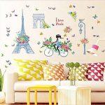 Dinglong Romantique Paris Wall Sticker pour Enfants Chambres Tour Eiffel Fleur Papillon FéE Fille ÉQuitation Wall Art Decal Home Decor Mural Cadeau CréAtif de la marque DingLong image 3 produit