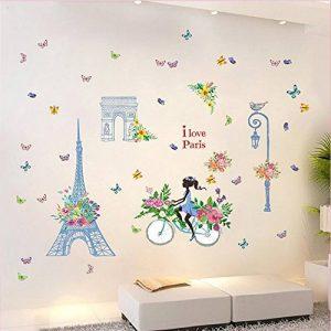 Dinglong Romantique Paris Wall Sticker pour Enfants Chambres Tour Eiffel Fleur Papillon FéE Fille ÉQuitation Wall Art Decal Home Decor Mural Cadeau CréAtif de la marque DingLong image 0 produit