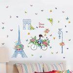 Dinglong Romantique Paris Wall Sticker pour Enfants Chambres Tour Eiffel Fleur Papillon FéE Fille ÉQuitation Wall Art Decal Home Decor Mural Cadeau CréAtif de la marque DingLong image 2 produit