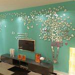 DIY 3D Énorme Arbre de couple Stickers Muraux Cristal Acrylique Décorations murales Autocollants Décoratifs Accueil Décorations Arts (S, Argent, Gauche) de la marque MJTP image 2 produit