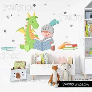 Dragon et chevalier lisant - Stickers muraux enfants - T0 Basic de la marque StarStick image 0 produit