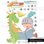 Dragon et chevalier lisant - Stickers muraux enfants - T0 Basic de la marque StarStick image 2 produit
