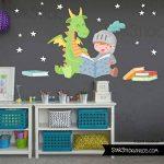 Dragon et chevalier lisant - Stickers muraux enfants - T0 Basic de la marque StarStick image 3 produit