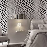 Ecoart 3D Autocollant Mural Imperméable Auto-adhésif en mosaïque pour la salle de bain et la cuisine Noir, gris et blanc 25.4 x 25.4cm Lot de 6 de la marque Ecoart image 2 produit