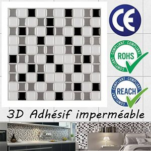Ecoart 3D Autocollant Mural Imperméable Auto-adhésif en mosaïque pour la salle de bain et la cuisine Noir, gris et blanc 25.4 x 25.4cm Lot de 6 de la marque Ecoart image 0 produit