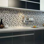Ecoart 3D Autocollant Mural Imperméable Auto-adhésif en mosaïque pour la salle de bain et la cuisine Noir, gris et blanc 25.4 x 25.4cm Lot de 6 de la marque Ecoart image 1 produit