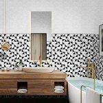 Ecoart 3D Autocollant Mural Impermeable Auto-Adhesif en Mosaique de Triangle pour la Salle de Bain et la Cuisine Noir, Gris et Blanc 25.4 x 25.4cm Lot de 6 de la marque Ecoart image 1 produit