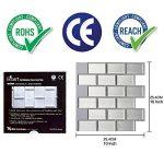 Ecoart Autocollant Carrelage Adhesid 3D Mural Sticker Auto-Adhésif Carreau de Ciment Decoratif Cuisine Salle de Bain Brique (Argent) de la marque Ecoart image 3 produit