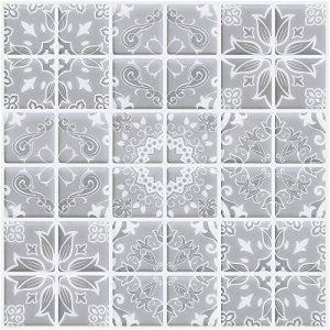 Ecoart Autocollant Carrelage Adhesid 3D Mural Sticker Auto-Adhésif Carreau de Ciment Decoratif Cuisine Salle de Bain Brique (Gris Modèle) de la marque Ecoart image 0 produit