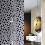 Ecoart Autocollant Carrelage Adhesid 3D Mural Sticker Auto-Adhésif Carreau de Ciment Decoratif Cuisine Salle de Bain Mosaique (Noir Argent Blanc) de la marque Ecoart image 1 produit