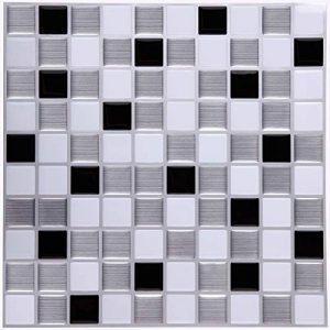Ecoart Autocollant Carrelage Adhesid 3D Mural Sticker Auto-Adhésif Carreau de Ciment Decoratif Cuisine Salle de Bain Mosaique (Noir Argent Blanc) de la marque Ecoart image 0 produit