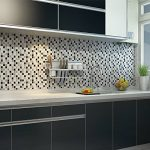 Ecoart Autocollant Carrelage Adhesid 3D Mural Sticker Auto-Adhésif Carreau de Ciment Decoratif Cuisine Salle de Bain Mosaique (Noir Argent Blanc) de la marque Ecoart image 2 produit