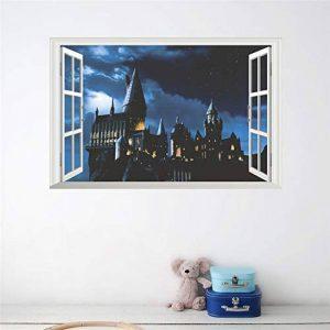 Effet 3D Poudlard Scolaire Château Fenêtre Stickers Muraux Enfants Chambres Harry Potter Stickers Muraux Décor À La Maison Diy Affiche Pvc Murale Art de la marque ajhsuwn image 0 produit