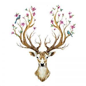 Eizur 3D PVC Cerf Sika Stickers Muraux Amovible Décoratifs Deer Autocollants Pour Chambre Restaurant Den Entrée Salon Room de la marque Eizur image 0 produit