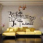 ELGDX Français Citation Amour Amovible Vinyle Mur Autocollant Stickers Murale Mur Art Papier Peint pour Salon Home Decor Maison Décoration de la marque ELGDX image 4 produit