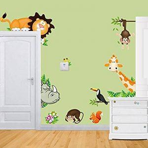EUGU Enfants Jungle Animaux Stickers Muraux Girafe Singe Lion Zoo Stickers Muraux Pour Bébé Tout Petits Garçons Et Filles Chambres 30X90cm de la marque EUGU image 0 produit