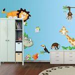 EUGU Enfants Jungle Animaux Stickers Muraux Girafe Singe Lion Zoo Stickers Muraux Pour Bébé Tout Petits Garçons Et Filles Chambres 30X90cm de la marque EUGU image 1 produit