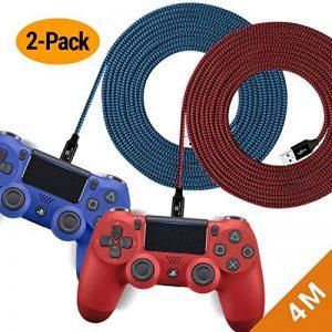 EXINOZ Câble Chargeur Tressé de pour Manette PS4 DualShock et Xbox One | Câble Chargeur de Manette de Longueur Idéale pour Xbox et PS4 | Câble avec Garantie 1 an (4m, Paquet de 2 - Bleu et Rouge) de la marque EXINOZ image 0 produit