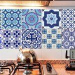 Extsud Set de 10 Pcs Sticker Carrelage Autocollant 20x20cm Carrelage Adhésif Mural Étanche pour Cusine Salle de Bain (Style porcelaine bleu et blanc) de la marque Extsud image 2 produit