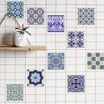 Extsud Set de 10 Pcs Sticker Carrelage Autocollant 20x20cm Carrelage Adhésif Mural Étanche pour Cusine Salle de Bain (Style porcelaine bleu et blanc) de la marque Extsud image 1 produit