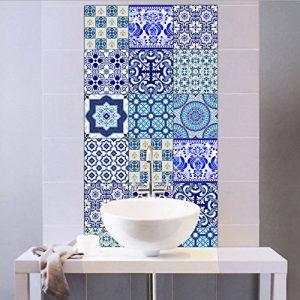 Extsud Set de 10 Pcs Sticker Carrelage Autocollant 20x20cm Carrelage Adhésif Mural Étanche pour Cusine Salle de Bain (Style porcelaine bleu et blanc) de la marque Extsud image 0 produit