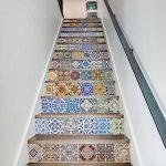 Extsud Set de 13 Pcs Sticker Carrelage Sticker Escalier Mosaïque DIY Autocollant Mural Style Mexicain 100x18cm/pcs de la marque Extsud image 1 produit