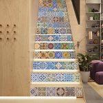 Extsud Set de 13 Pcs Sticker Carrelage Sticker Escalier Mosaïque DIY Autocollant Mural Style Mexicain 100x18cm/pcs de la marque Extsud image 2 produit