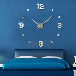 FAS1 Grande Horloge Murale Moderne DIY Big Montre Art Stickers 3D Miroir Effet Horloge Murale Amovible Home Office Décoration (Batterie Non Inclus) Argent de la marque FAS1 image 0 produit