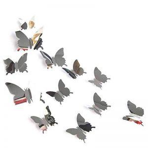 Fdit 12 Pcs 3D Papillon Miroir Mural Sticker Décor pour Salon Art Maison Décoration(Argent) de la marque Fdit image 0 produit