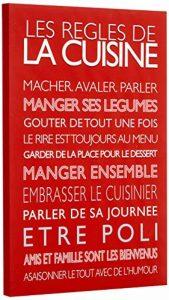 Feel Good Art Toile sur Cadre Art Mural de Style Moderne/Typographique Règles de Cuisine Rouge 60 x 40 x 4 cm Grande de la marque Feel-Good-Art image 0 produit