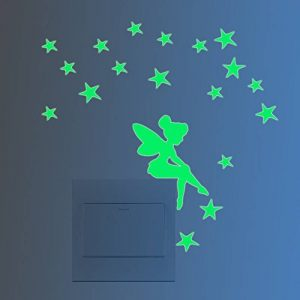 FESKIN 3 Pièces Étoiles d'ange Autocollant Mural lumineux dans l'obscurité, Interrupteur Décorations Chambre de bébé Stickers de la marque Feskin image 0 produit